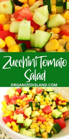 This fresh vegetable Salad is SO easy to make. This Easy Zucchini Tomato Salad is perfect as a BBQ side dish. Side Salad Recipes, Summer Salad Recipes, Salad Recipes For Dinner, Dinner Salads, Healthy Salad Recipes, Brunch Recipes, Drink Recipes, Vegetable Side Dishes, Side Dishes Easy