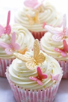 Wedding cupcakes by RuthBlack. Cupcakes decorated with pink and gold fondant but… Wedding cupcakes by RuthBlack. Cupcakes decorated with pink and gold fondant butterflies Butterfly Birthday Party, Butterfly Baby Shower, Cake Birthday, Butterfly Wedding Theme, Butterfly Party Decorations, Birthday Ideas, Wedding Flowers, Butterfly Garden Party, Birthday Parties