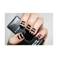 Black and Clear Striped    #nails www.finditforweddings.com