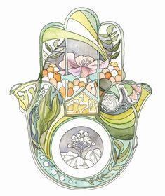 Ketubah hamsa botanical by ThePaintedKetubah on Etsy