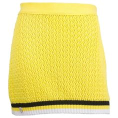 Pre-owned Philipp Plein Mini Skirt ($361) ❤ liked on Polyvore featuring skirts, mini skirts, women clothing skirts, yellow, striped mini skirt, cable knit skirt, skull skirt and striped skirts