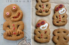 Gingerbread tikis mage and photographed by Tanya Wolfkamp © 2011 Mexican Christmas Food, Traditional Christmas Food, Christmas Food Treats, Christmas Crafts, Side Recipes, Snack Recipes, Dessert Recipes, Food Platters, Food Dishes