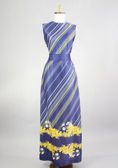Vintage 1970s Blue Maxi Dress with Diagonal White and Yellow Stripes and Bright Yellow Floral Border