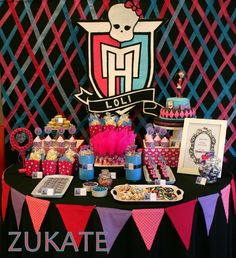 Dessert table and backdrop at a Monster High girl birthday party! See more party planning ideas at CatchMyParty.com!