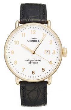 Main Image - Shinola The Canfield Alligator Strap Watch, 43mm