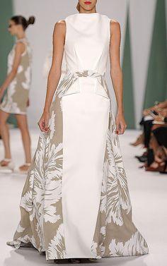 White Linen Tulip Techno Jersey Combo Gown by Carolina Herrera for Preorder on Moda Operandi