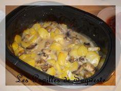Kikoo Dès qu'il fait frais, on ressort l'ultrapro pour se cuisiner facilement de bon mijotés! pour 4 personnes 8pp/personne 900gr de pommes de terre cuite 300gr de champignons de Paris 2CS de maizena 500ml de lait 1 cube de volaille 50gr d'emmental râpé...