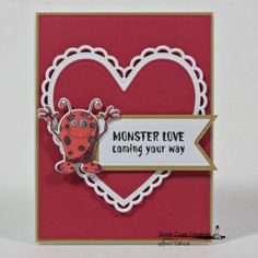 North Coast Creations Stamp Set: Little Monsters, North Coast Creations Custom Dies: Monster, Our Daily Bread Designs Custom Dies: Pierced Rectangles, Ornate Hearts, Double Stitched Pennant Flags, Pennant Flags
