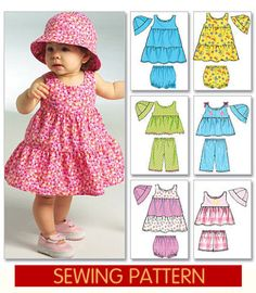 BABY SUNDRESS PATTERN With Ruffled Skirt and  Bucket Hat. $6.99, via Etsy.