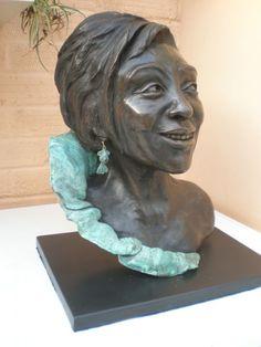 Bronze Resin #sculpture by #sculptor Linda Preece titled: 'Dame Shirley Bassey (Head Bust Face Portrait sculpture statue sculpture)'. #LindaPreece