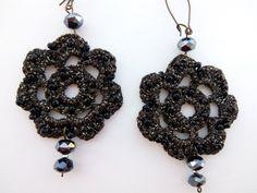 Crochet earrings Chandelier earrings Long by DesignByIrenne