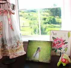 love this grouping - especially the dress on the wire form, canvas photo, alphabet letter