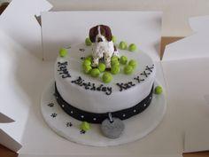 springer spaniel - Chocolate ganache cake. Springer spaniel and tennis balls fondant figures