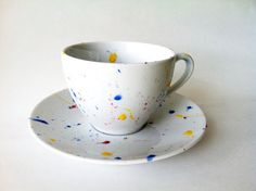 Speckled Tie Dye Tea Cup and Saucer