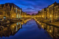 市, 夜, 水路, チャネル, 夜の空, ライト, 街路灯籠, 照明, 反射, 穏やかな, オランダ