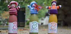 Knitting patterns for Innocent Big Knit: knitted hats on smoothie bottles Doll Patterns, Knitting Patterns, Charity Gifts, Big Knits, Hat Crafts, Bobble Hats, Bottle Top, How To Raise Money, Fundraising