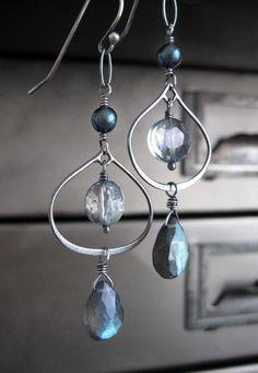 Labradorite Gemstone Earrings Seafoam Green Quartz by ShySiren