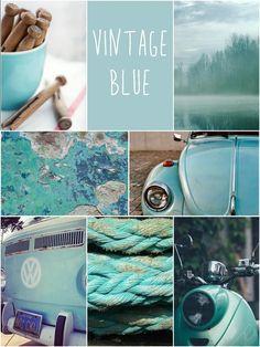 VINTAGE BLUE - Blauw tinten voor in het interieur - Aqua - Turquoise - Oud - Vintage - Brocante - Blauw