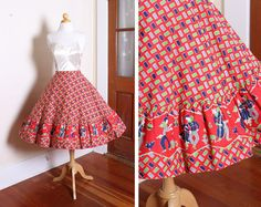 ADORABLE Early 1950's Rich & Vibrant Cotton by butchwaxvintage, $150.00