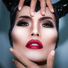 Smokey eyes, intense red lips, and a strongly-chiseled face define this Maleficent-inspired makeup. Create this mind blowing Halloween look with these impressive products.