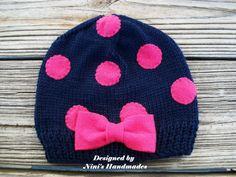 NAVY Beanie with FUCHSIA Polka dots and Bow by NinisHandmades