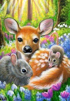cerfs, biches, faons, chevreuils en peinture et illustrations - Bridget Voth Cute Animal Drawings, Cute Drawings, Animal Pictures, Cute Pictures, Baby Animals, Cute Animals, Deer Art, Wildlife Art, Animal Paintings