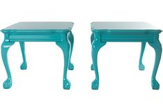 I have tables just like this, I painted them this color then white and sanded the corners.   Aqua Side Tables, Pair
