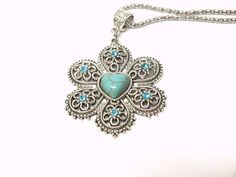 Filigree Flower Necklace Turquoise Heart Shaped by Hermitinas