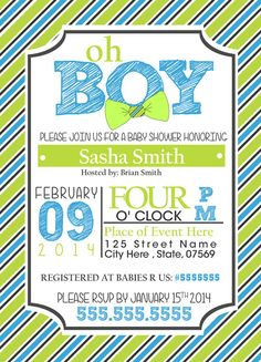 Baby Shower Invitation for Boy Bow Ties Custom by CreativeMotives, $10.00