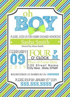 Baby Shower Invitation for Boy Bow Ties Custom by CreativeMotives, $10.00