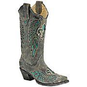 Corral® Ladies Distressed Black w/ Turquoise Fleur de Lis Snip Toe Western Boots  $239.99