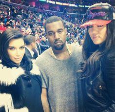 Kim  Kardashian,Kanye west, and  Klohe kardasian