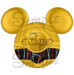 C3PO (Star Wars) Character inspired Mickey head ears DIGITAL printable file DIY on Etsy, $3.00