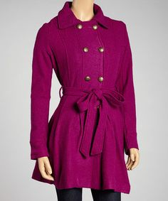 Take a look at this Purple Wool-Blend Trenchcoat by LOVE STITCH on #zulily today! $59 !!