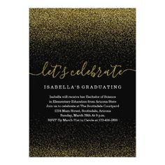 Gold Glitter Graduation Invitation - graduation gifts giftideas idea party celebration