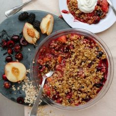 Stone Fruit Crumble Topped w/ Greek Yogurt
