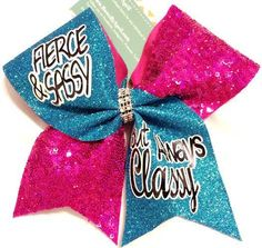 Bows by April - FIERCE and SASSY But Always CLASSY Hot Pink Sequins and Aqua Glitter Cheer Bow, $18.00 (http://www.bowsbyapril.com/fierce-and-sassy-but-always-classy-hot-pink-sequins-and-aqua-glitter-cheer-bow/)