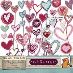 Heart Clip Art - Doodles - Valentine's Day ClipArt - Love Graphics product from FishScraps on TeachersNotebook.com
