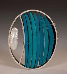 Half Moon by Ayala Naphtali (Silver, Coconut Shell & Pearl Brooch) Wooden Jewelry, Metal Jewelry, Jewelry Art, Silver Jewelry, Jewelry Design, Pearl Brooch, Silver Brooch, Silver Ring, Artisan Jewelry