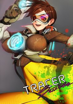 1girl bodysuit breasts brown_hair character_name covered_navel dated gun handgun jacket lena_oxton looking_at_viewer overwatch pink_eyes pistol rak_(kuraga) short_hair smile solo spiky_hair tracer_(overwatch) weapon