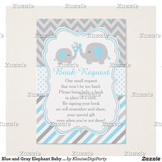 Blue and Gray Elephant Baby Shower Book Request Business Card