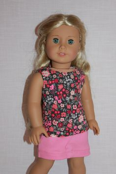 18 inch doll clothes floral knit tank top pink by UpbeatPetites
