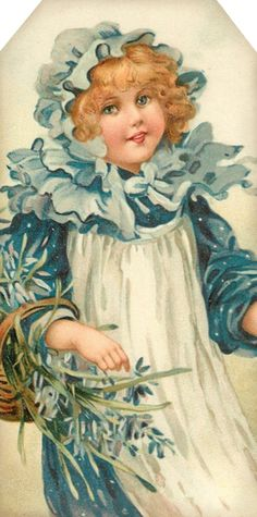 1907 Flower Maidens ~ girl with bluebells