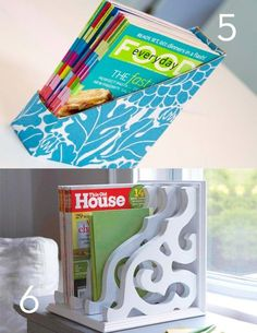cereal box (strenghthened with paper mache) magazine holder