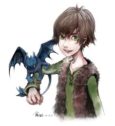 Drawn by oxalicacid ... How to train your dragon, toothless, hiccup, night fury, dragon, viking