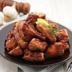 Linda's Crockpot Chicken Wings Recipe Appetizers with chicken wings, soy sauce, ground ginger, garlic cloves, green onions, honey, oil, onion tops