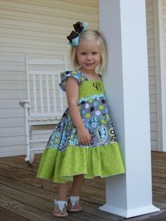 Tiered Twirl Dress pattern by Little Lizard King (sizes 6m-6yrs) -- This dress has the cutest sleeves! Make for both little girls soon.