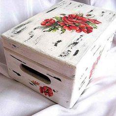 Cutie flori maci, cutie lemn cu design de flori de maci Decoupage, Decorative Boxes, Design, Home Decor, Decoration Home, Room Decor, Home Interior Design, Decorative Storage Boxes