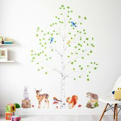 Beautiful wandtattoos baum kinderzimmer wanddeko waldtiere