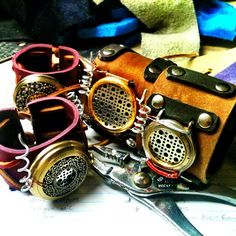 Steampunk audemitter cuffs, which we use as communicators in Steamworks & Shadows. Made by Aterman Props.